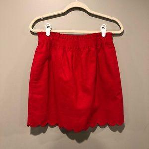 J Crew Scalloped Hem Red Sidewalk Skirt